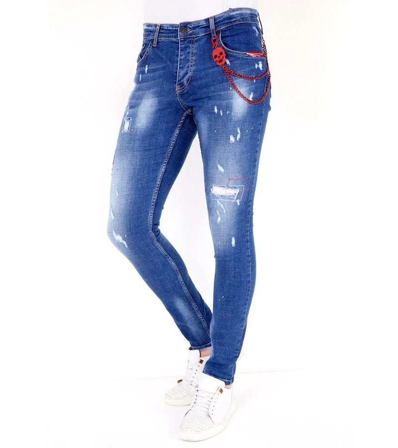 Local Fanatic Embroidered Jeans Men - 1030 - Blue