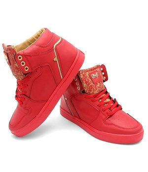 Cash Money Mens Sneakers Majesty Red Gold 2 - CMS13 - Red