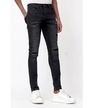 True Rise Ripped Jeans Mens Skinny - D-3132 - Black