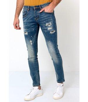 True Rise Men's Slim Fit Paint Splatter Jeans - D-3092 - Blue
