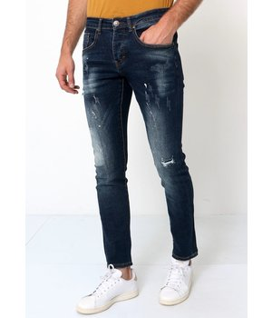 True Rise Ripped and Painted Slim Fit Jeans - D-3033 - Blue