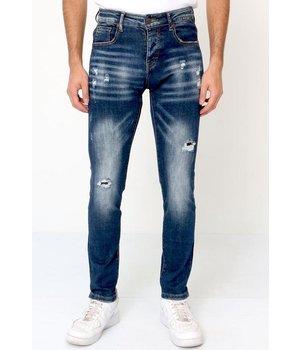 True Rise Slim Fit Ripped Jeans Mens - D-3134 - Blue