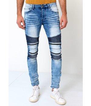 True Rise Mens Jeans Biker Style - 3038 - Blue