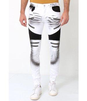 True Rise Biker Jeans Mens UK - 3025-1 - White