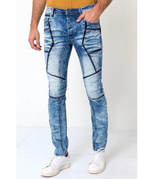 True Rise Biker Jeans Mens - W6002 - Blue