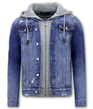 Enos Mens Denim Jacket With Hoodie - RJ9106 -  Blue