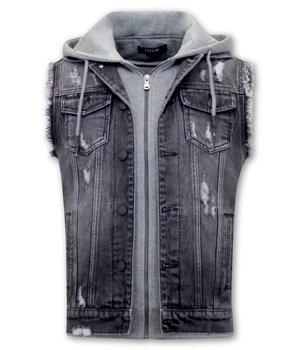 Enos Denim Vest With Hoodie Mens  - RJ9105 - Black
