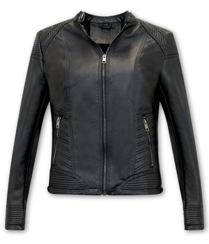 Bludeise Ladies Leather Biker Jackets UK - AY109 - Black