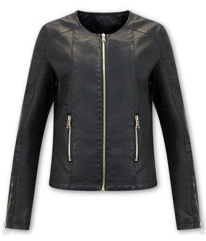 Bludeise Ladies Leather Jackets UK - AY171 - Black