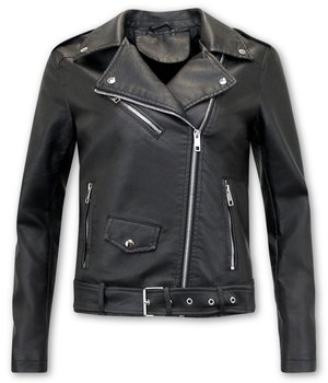 Bludeise Ladies Biker Style Leather Jacket - AY033 - Black
