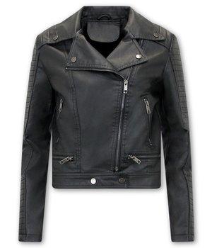 Bludeise Ladies Leather Biker Jacket - AY151 - Black