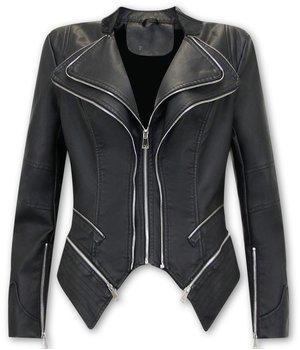 Bludeise Women Leather Jacket - AY152 - Black