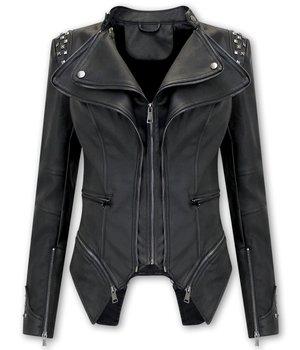 Bludeise Women's Leather Jacket Biker - AY156 - Black