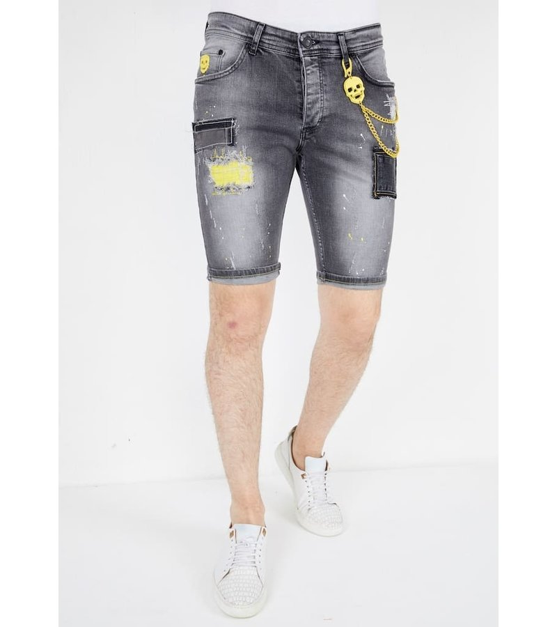 Local Fanatic Mens Ripped Jeans Shorts - 1053 - Grey