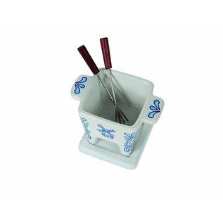 Een sierstukje op tafel, deze Tapas Fondue in Delfts Blauw
