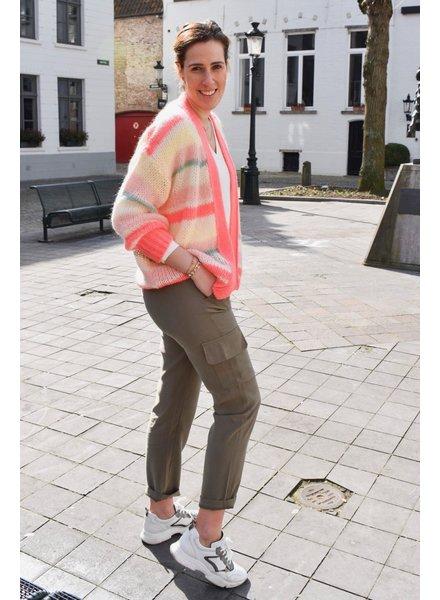 IMPREVU Pantalon Tencel Poches Kaki