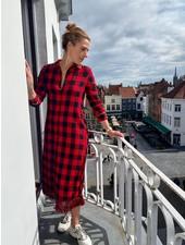 IMPREVU Longue Robe Carreaux Red Lurex Franges