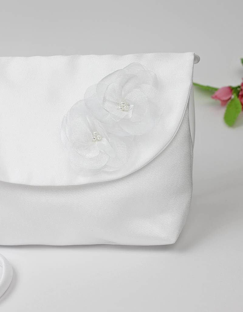 Kommuniontasche mit Blumen und Perlen