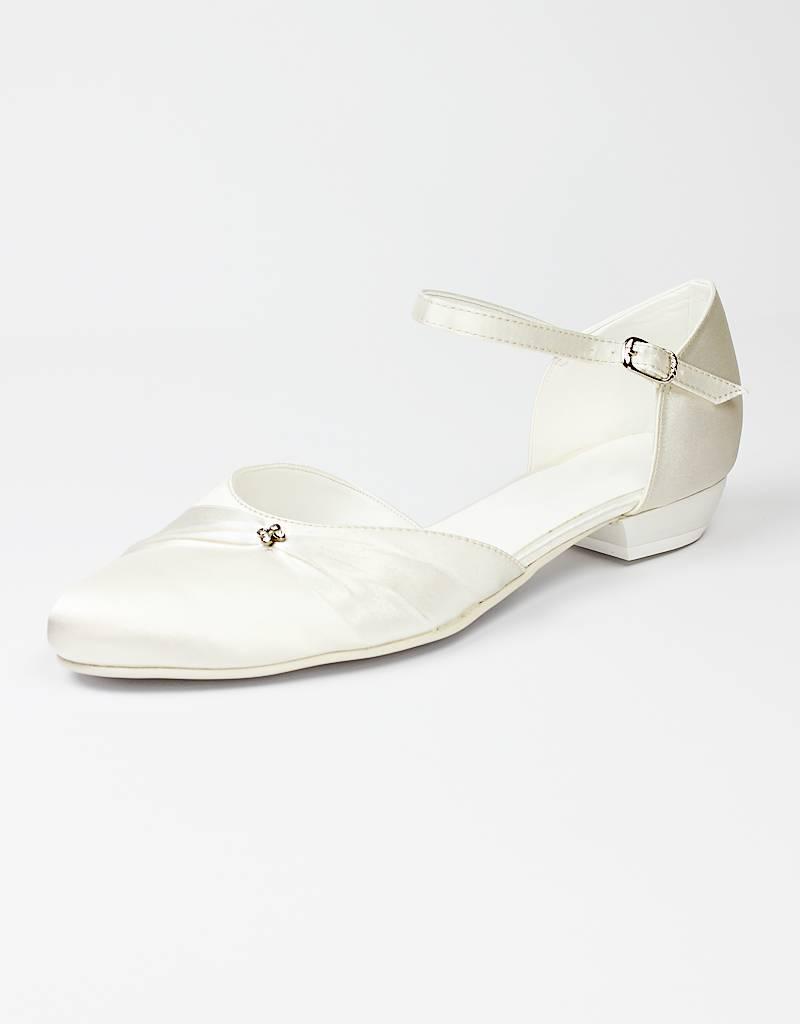 296c91181a4390 Flache bequeme Brautschuhe aus Satin mit kleinem Absatz in weiß und ...