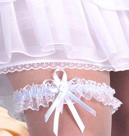 Hochzeit Strumpfband in weiß, ivory, blau