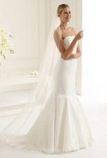 Brautschleier lang mit Satinkante