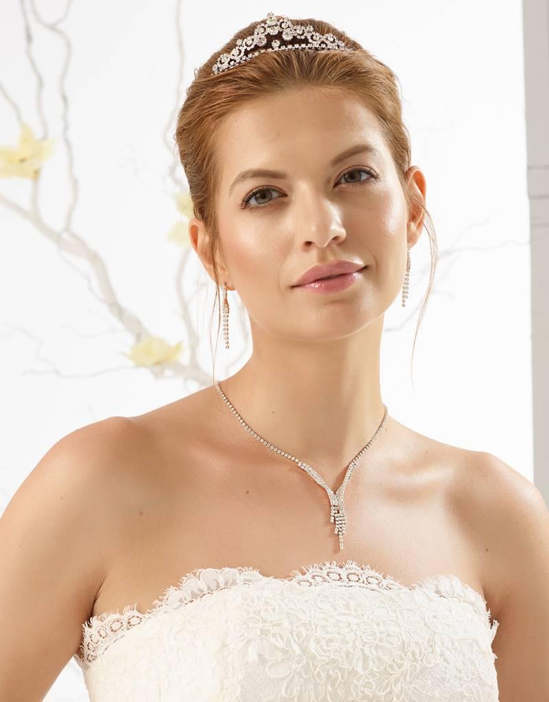 Bianco Evento  Zarte Halskette und Ohrringe mit Strass
