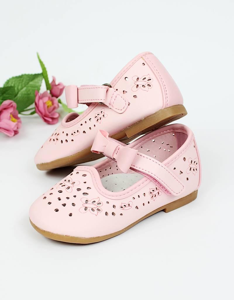 Festliche Taufschuhe Babyschuhe Ballerina für Mädchen in rosa.