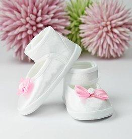 Taufschuhe Babyschuhe weiß-rosa