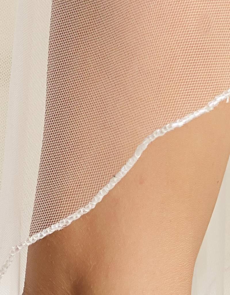 Edler Brautschleier mit Glasperlen Kante