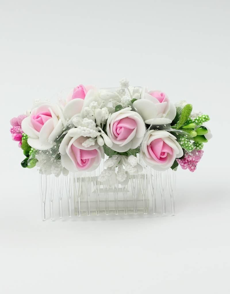 Haarkamm mit Blumen und Tüll