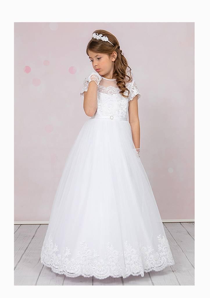 Brautkontor Kids Kommunion  Luxus Kommunionkleid mit Spitze, Perlen und Pailletten