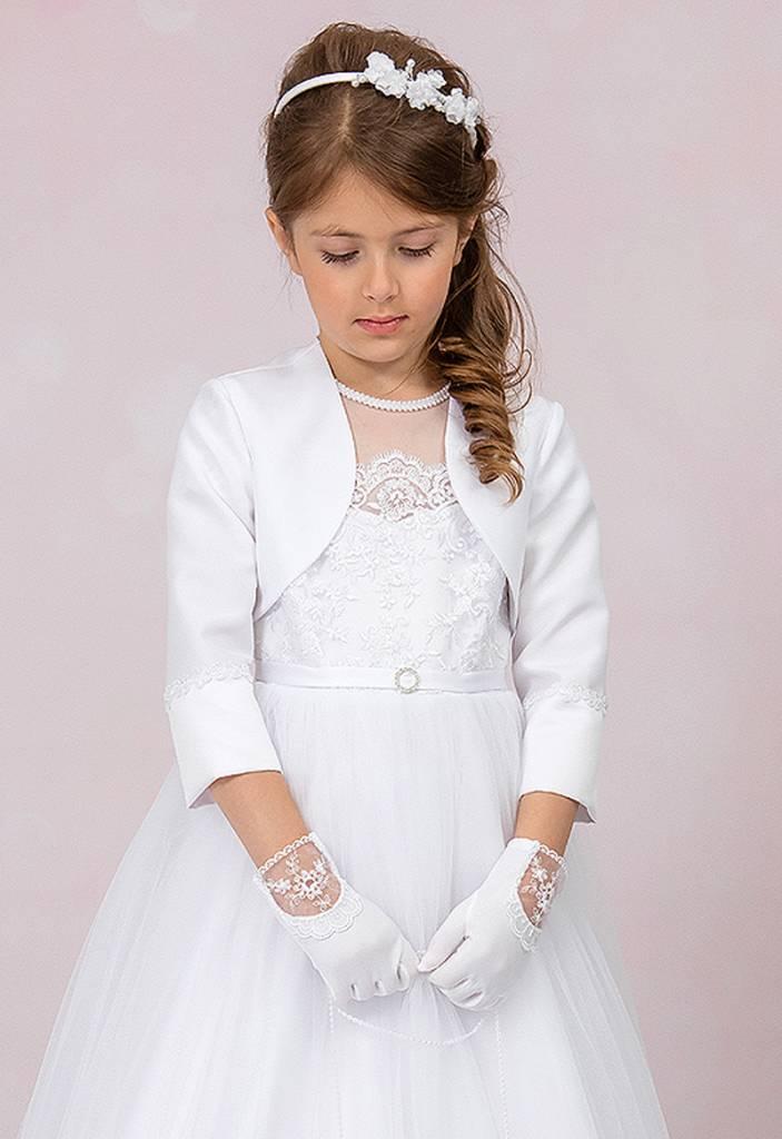 Luxus Kommunionkleid mit Spitze, Perlen und Pailletten
