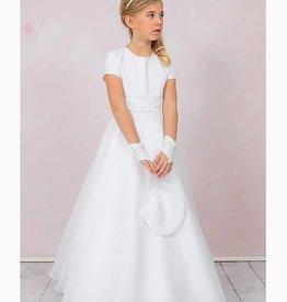 Brautkontor Kids Kommunion Schlichtes und elegantes Kommunionkleid aus Satin