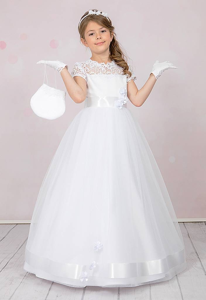 Brautkontor Kids Kommunion Elegantes Kommunionkleid mit Bolero, Tasche und Reifrock