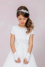 Brautkontor Kids Kommunion Kommunionkleid mit Perlen und Pailletten Spitzenapplikation