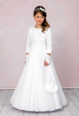 Brautkontor Kids Kommunion Langes Kommunionkleid Komplett Set A-Linie in weiß