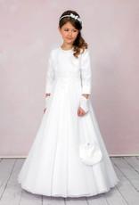 Langes Kommunionkleid Komplett Set A-Linie in weiß