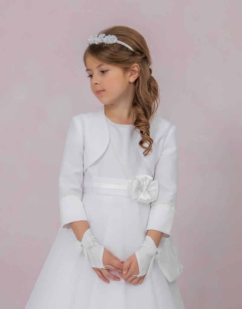 Brautkontor Kids Kommunion Kommunion Bolero aus Satin mit Perlen