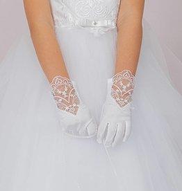 Brautkontor Kids Kommunion Edle Kommunion Handschuhe mit Spitze