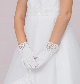 Brautkontor Kids Kommunion Tolle Kommunion Handschuhe mit Spitze und Strass