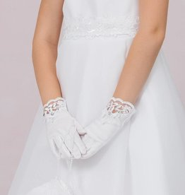 Tolle Kommunion Handschuhe mit Spitze und Strass