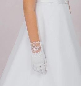 Brautkontor Kids Kommunion Mädchen Kommunion Handschuhe mit Spitze