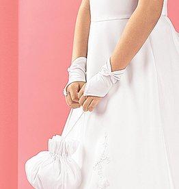Kommunion Handschuhe fingerlos mit Rose