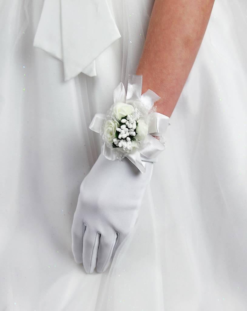 Blumen Armband in weiß, creme oder rosa für Kommunion, Brautjungfer