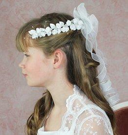 Brautkontor Kids Kommunion Offener Kommunion Haarkranz mit Rosen weiß