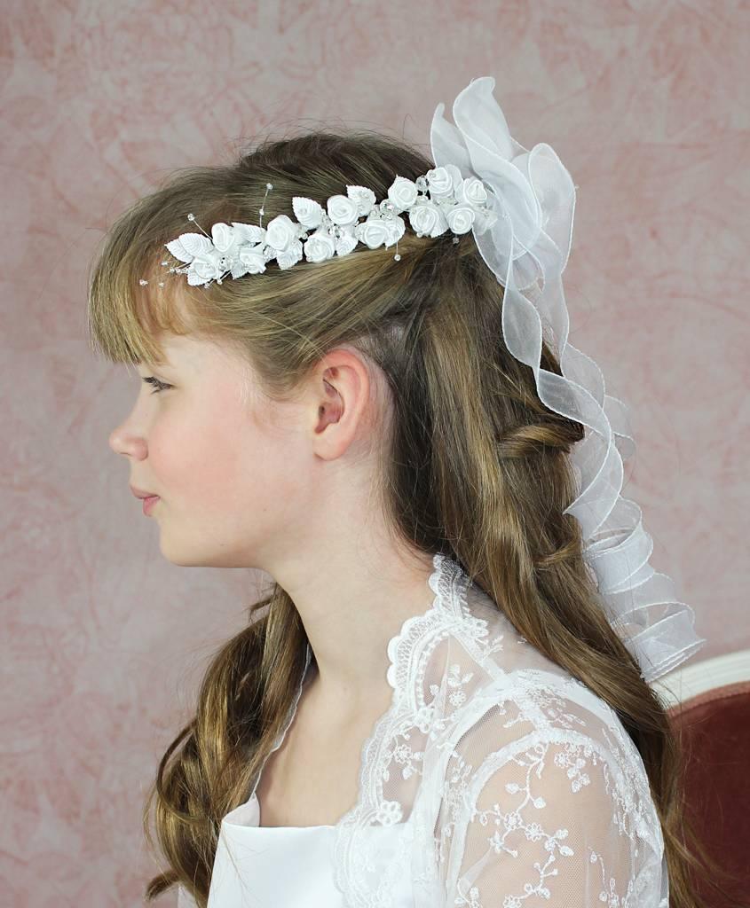 Brautkontor Kids Kommunion Schöner Kommunion Halbkranz mit Organza Bändern
