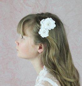 Haarkamm Haarschmuck mit Blumen, Perlen Kommunion