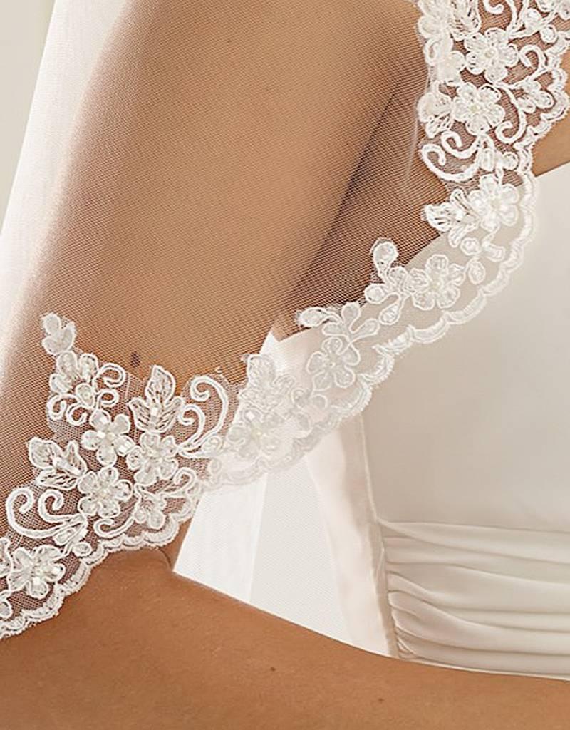 Marken Brautschleier lang mit Spitzenkanze und Perlen
