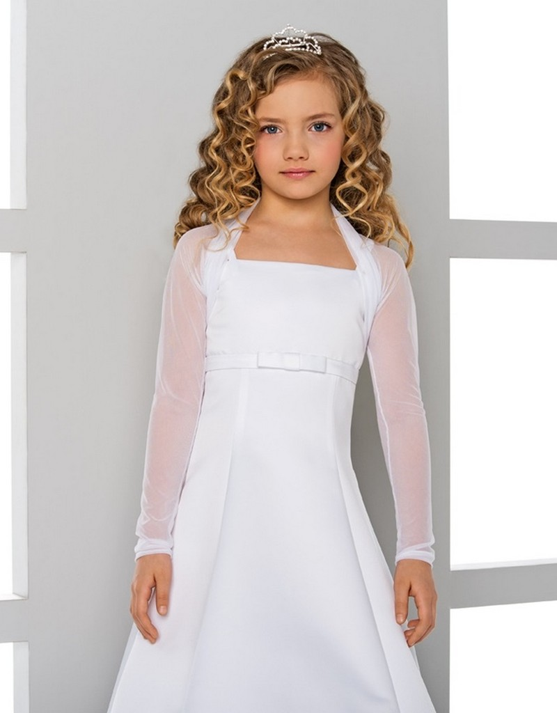 a268a429bba Smart and elegant satin communion dress in white or ivory cream. -