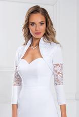 Originelle Braut Bolero Jacke mit Ornamenten Spitze